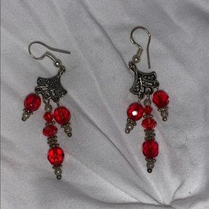 2 for $20💍 Silver Dangly Red Beaded Earrings